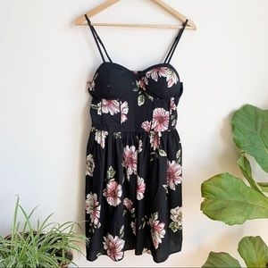 Band of Gypsies Floral Dress Bustier XL Black Pink